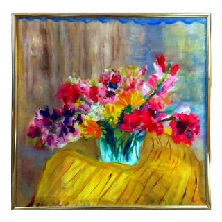 Post Impressionist Still Life Floral Oil Painting C. 1960's