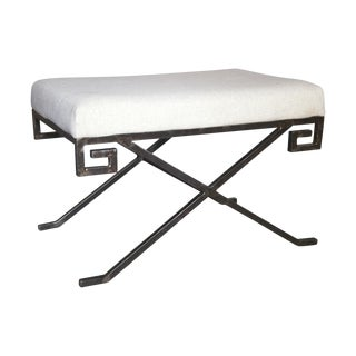 Metal Base & Linen Ming Bench