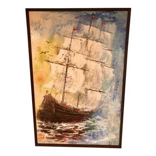 Tatiana Mid-Century Ship Painting