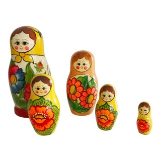 Handpainted Russian Nesting Dolls - Set of 5