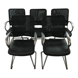 Mesh Upholstered Metal Office Chairs - Set of 5