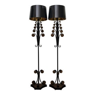 Iron & Resin Floor Lamps, A Pair