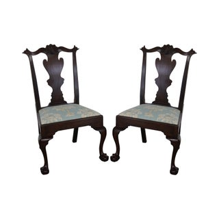 Henkel Harris Mahogany Chippendale Dining Chairs - Pair