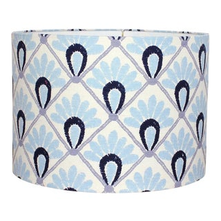 John Robshaw Blue Hand Block Print Drum Lamp Shade