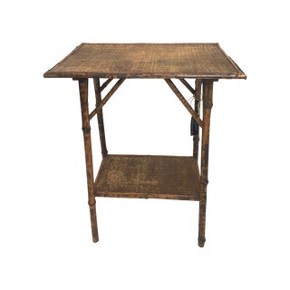 British Colonial-Style Bamboo & Cane Side Table