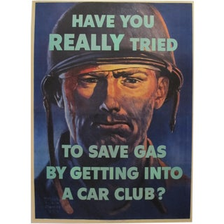 1944 American WWII Propaganda Poster, Save Gas Car Club