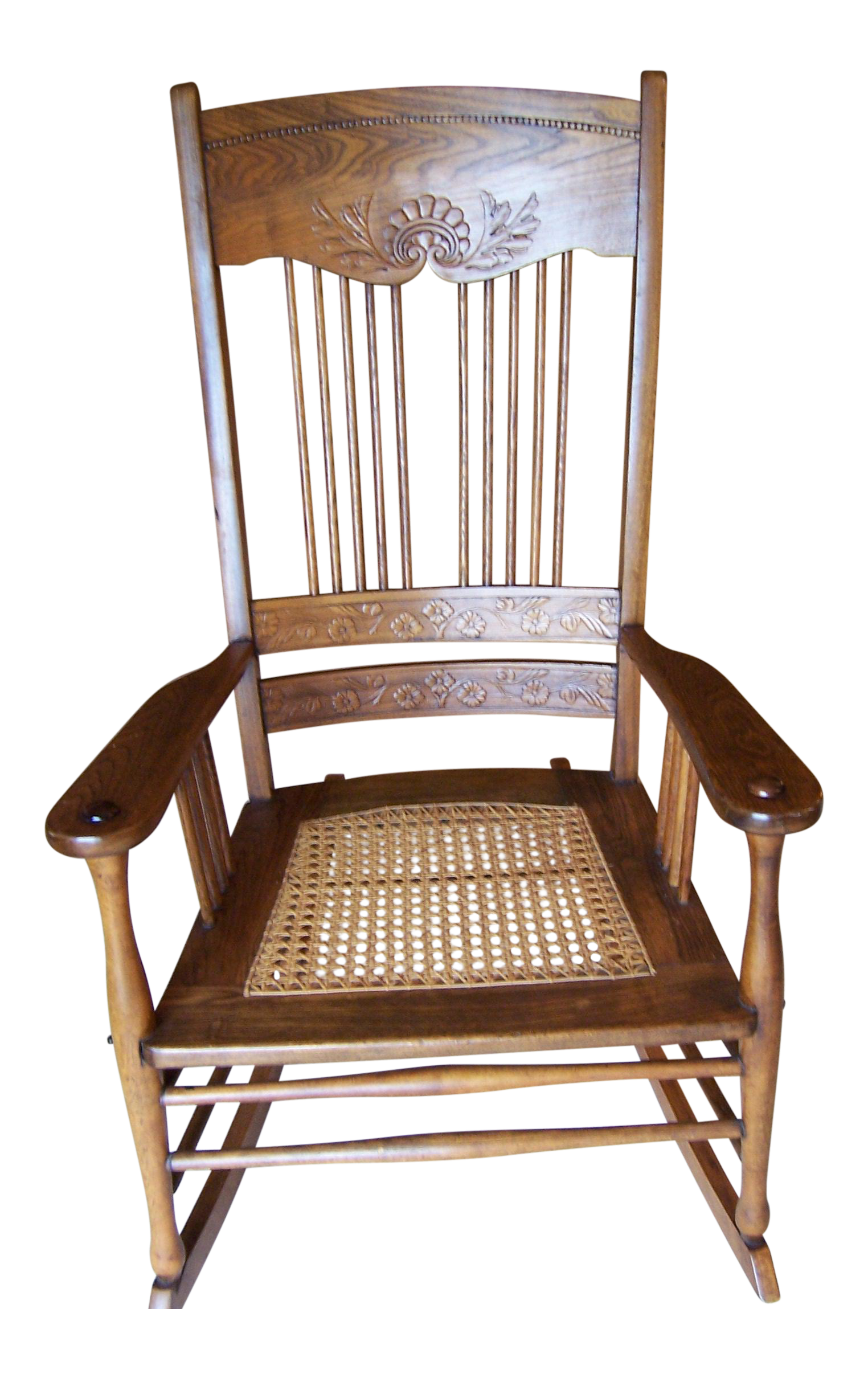 Antique Triple Pressed Back Rocking Chair