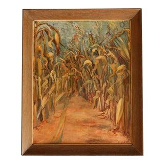"Mid Century ""Cornstalks"" Oil Painting"