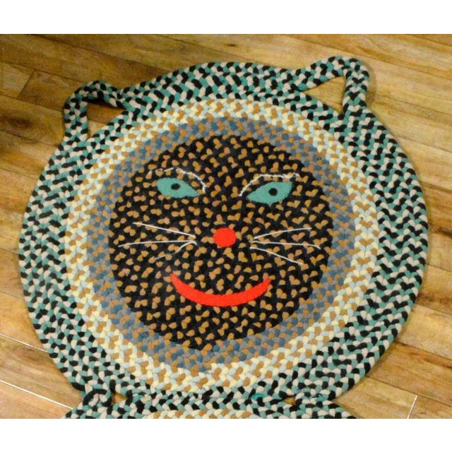 American Folk Art Braided Rug in the Form of a Cat - Image 3 of 3