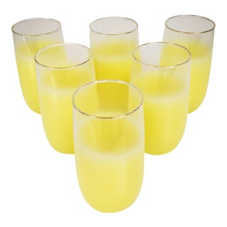 Yellow Frosted High Ball Glasses- Set of 6