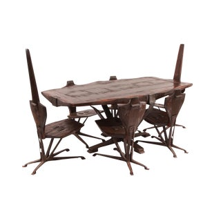 Brutalist Steel & Pine Dining Table & Chairs - Set of 7