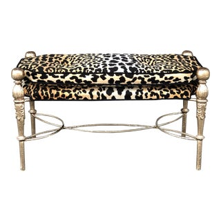 Brass Leopard Upholstered Bench