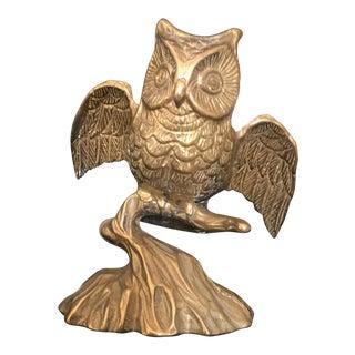 Mid-Century Solid Brass Owl Sculpture