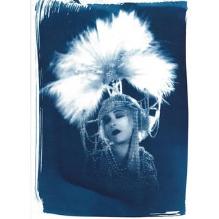 20's Fashion Photo of Femme Fatale Salomé, Cyanotype Print on Watercolor Paper
