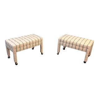 Modern Upholstered Benches On Wheels - A Pair