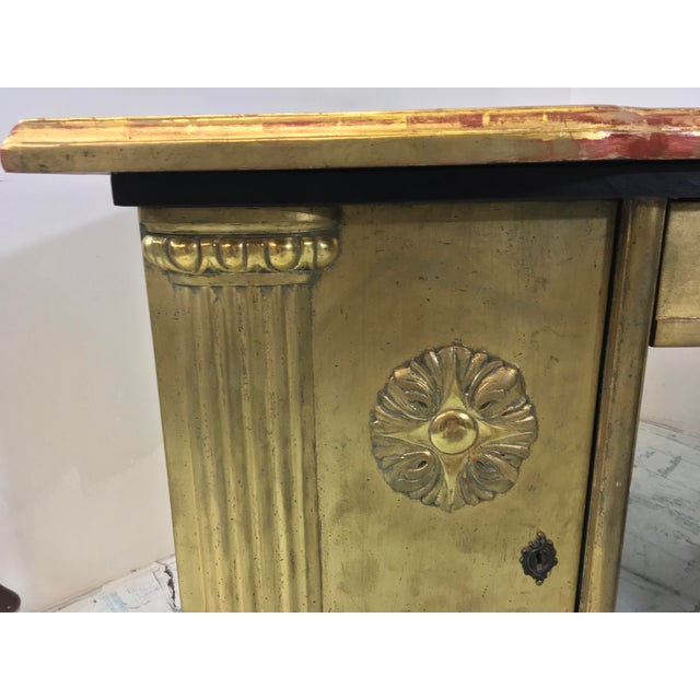 French Neo-Classical Style Gold Leaf Desk - Image 10 of 10