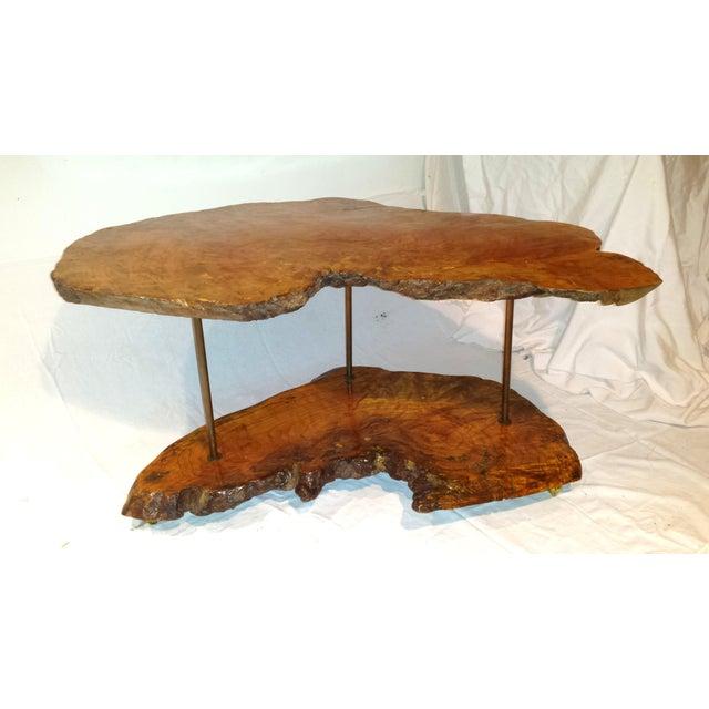 Vintage 1960 Redwood Live Edge Coffee Table