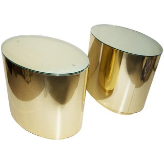Brass Cylinder Side Tables - A Pair
