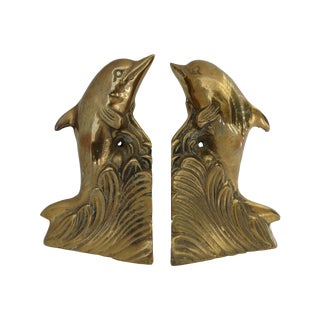 Brass Dolphin Bookends