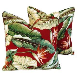 Custom Bird of Paradise Barkcloth Feather/Down Pillows - Pair