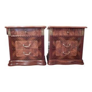 Burnished Lacquer Night Tables - A Pair