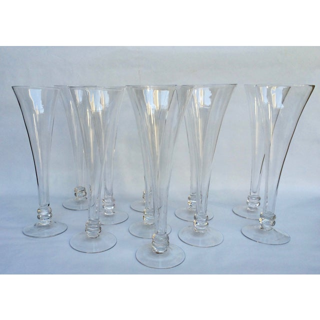 Hand blown glass champagne flutes set of 11 chairish - Hand blown champagne flutes ...