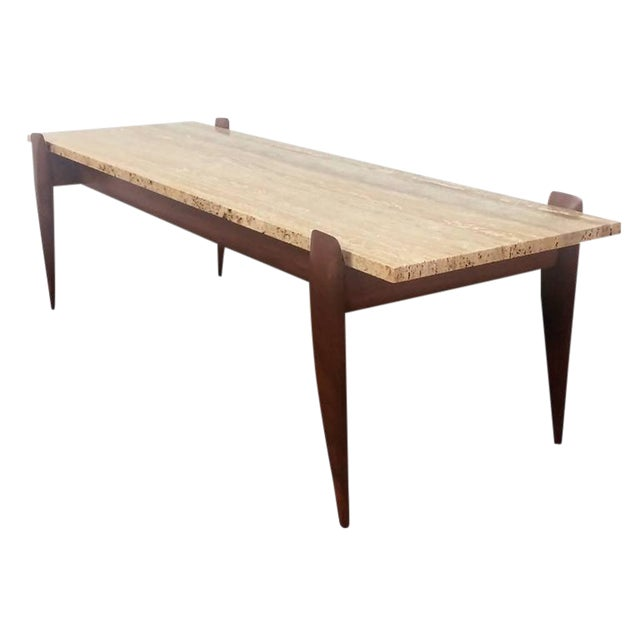 Gio Ponti for M. Singer & Sons Walnut and Travertine Coffee Table - Image 1 of 6