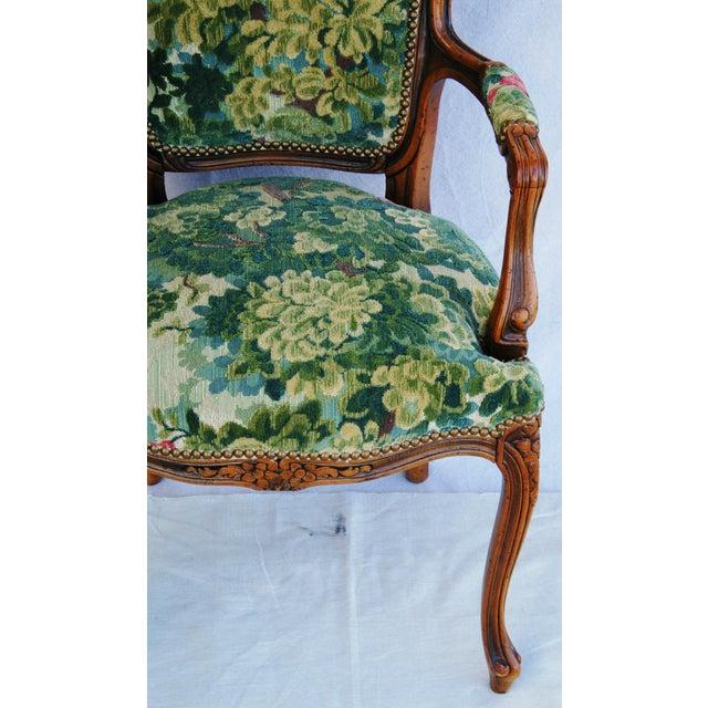 Scalamandre Marly Velvet Tapestry Upholstered Walnut Armchair - Image 6 of 10