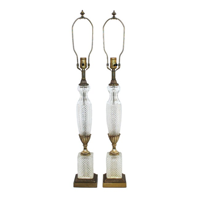 Image of Frederick Cooper Crystal Column Lamps - Pair