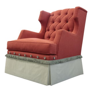 Tufted Wingback Chair With Tailored Skirt