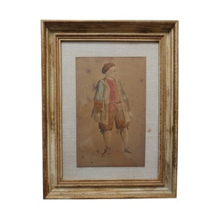 Signed 18th Century Watercolor Portrait