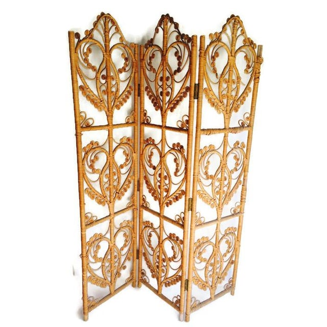 Vintage Iconic Rattan Peacock Folding Screen 1960 - Image 5 of 6