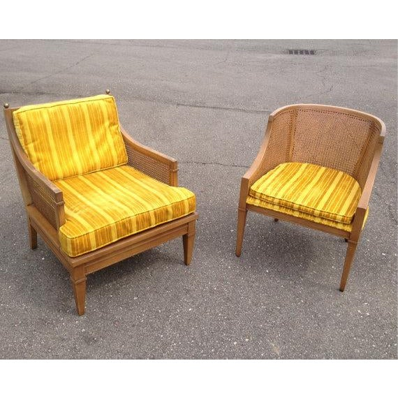 Lewittes matching cane accent chairs a pair chairish for Matching arm chairs
