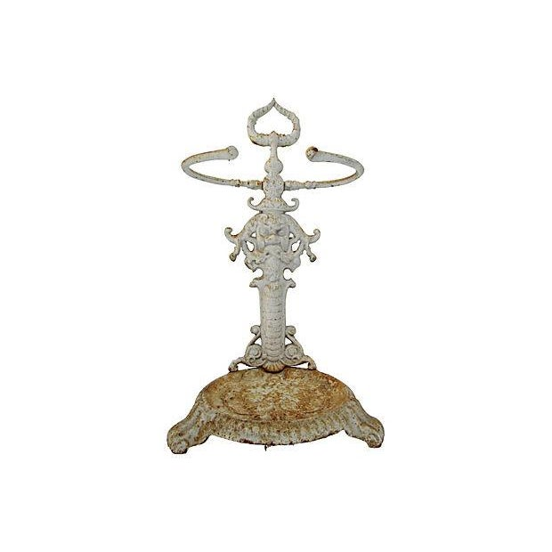 Image of Vintage Shabby Chic Cast Iron Umbrella Stand