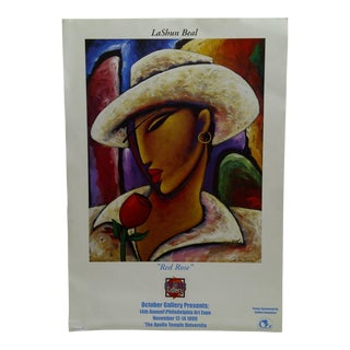 1999 Signed Gallery Show Poster Red Rose Lashun Beal