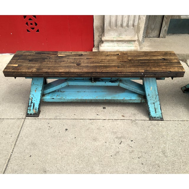 Reclaimed Wood Industrial-Inspired Bench - Image 3 of 6
