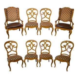 Thomasville Burl Wood Biedermeier Style Dining Chairs - Set of 8