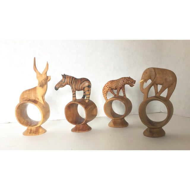 Image of African Hand Carved Animal Napkin Rings- Set of 4