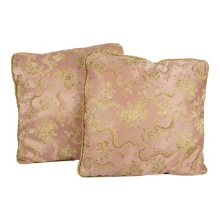 Pink & Gold Satin Throw Pillows - A Pair