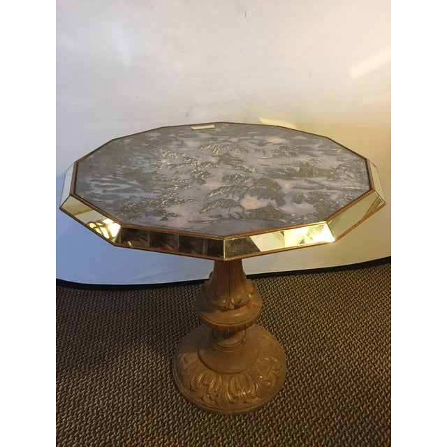 Chinoiserie Style Center Table with Eglomise Glass Top on a Single Pedestal - Image 6 of 10
