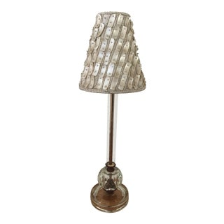 1930s Mother of Pearl & Etched Glass Boudoir Lamp