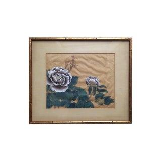 Framed Silk Peony Painting