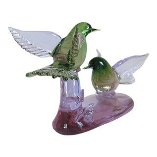Signed Venetian Alexandrite Art Glass Bird Sculpture