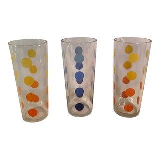 Mid-Century Modern Polka Dot Glasses - Set of 3