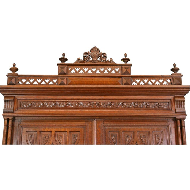 Antique Carved Oak French Henry II Hutch - Image 6 of 8