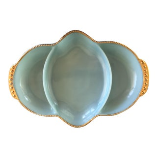 Fire King Blue & Gold Dish