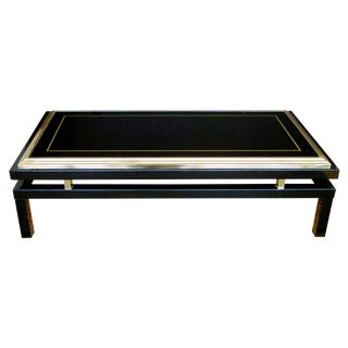 Stylish French Black Enameled Metal Rectangular Coffee Table by Guy Lefevre
