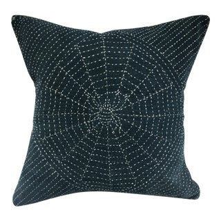 Antique Indigo Pillow with Hand Stitched Spider Web