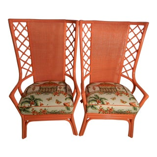 Vintage Ficks Reed Lacquered Coral Chairs - A Pair