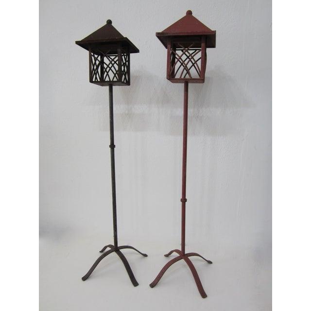 Metal Outdoor Lanterns - Pair - Image 3 of 5